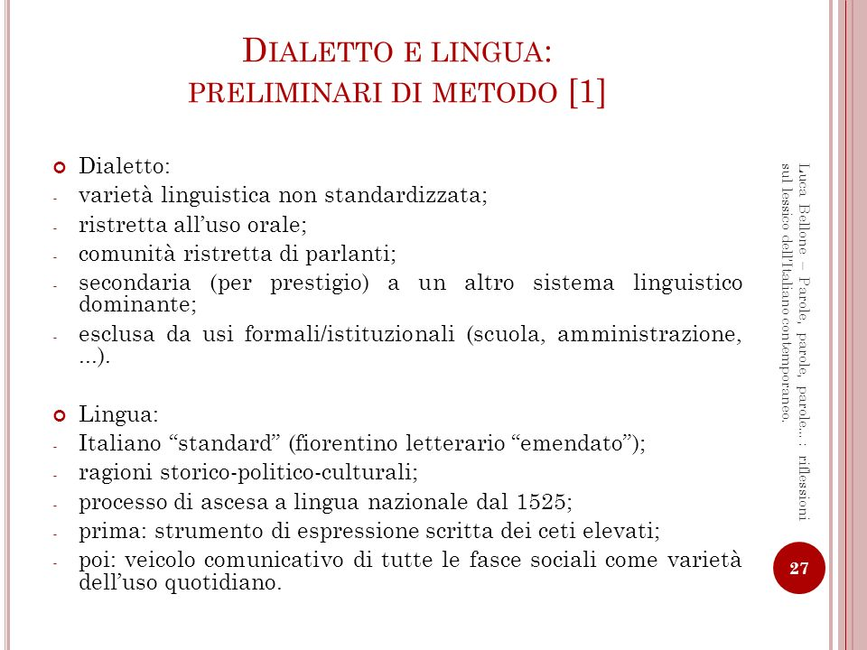 Dialetto e lingua: preliminari di metodo [1]